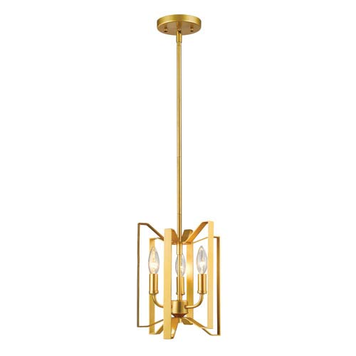 Marsala Polished Metallic Gold Three-Light Pendant