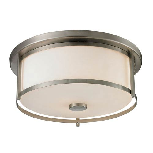 Savannah Brushed Nickel Three-Light Flush Mount with Matte Opal Glass