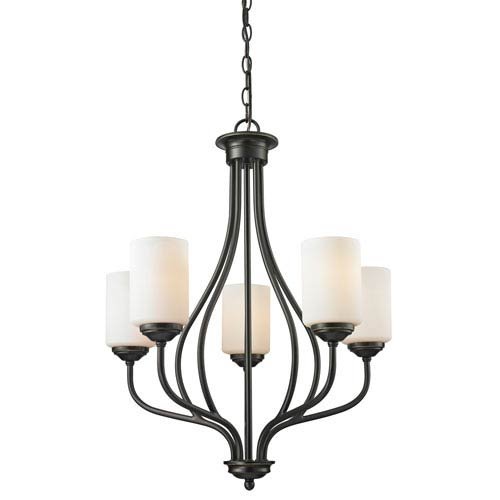 Cardinal Olde Bronze Five-Light Chandelier with Matte Opal Glass