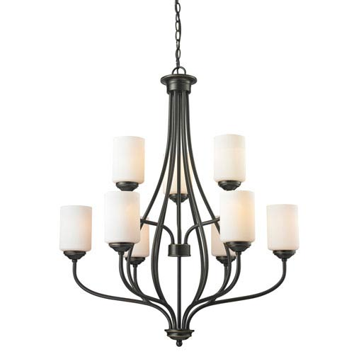 Cardinal Olde Bronze Nine-Light Chandelier with Matte Opal Glass