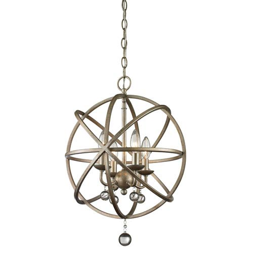 Acadia Antique Silver and Clear Crystal Four-Light Pendant with -