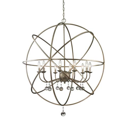 Acadia Antique Silver and Clear Crystal Ten-Light Pendant with -