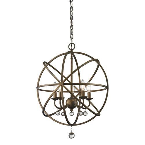 Acadia Golden Bronze and Clear Crystal Five-Light Pendant with -