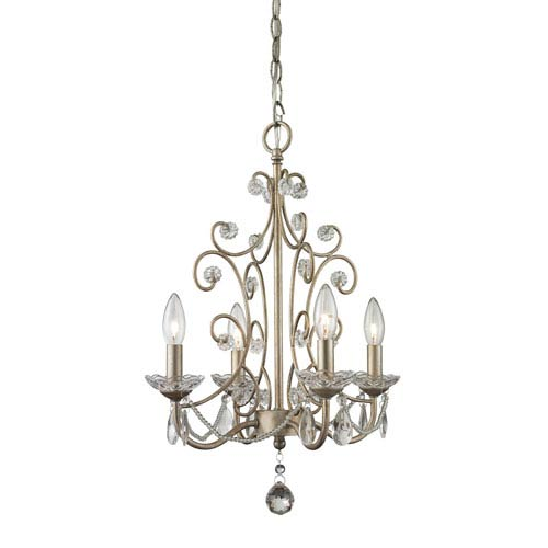 Princess Antique Silver 15.5-Inch Four-Light Mini Chandelier with Clear Crystal