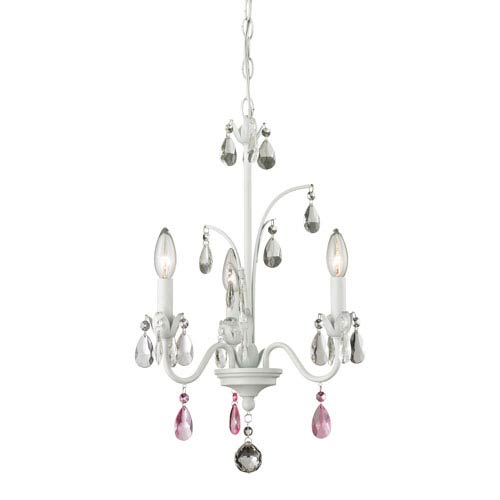 Z-Lite Princess Matte White Three-Light Mini Chandelier with Clear and Pink Crystal