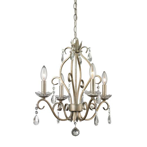Princess Antique Silver 17-Inch Four-Light Mini Chandelier with Clear Crystal