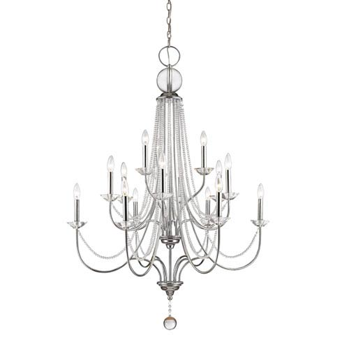 Z-Lite Serenade Chrome 15-Light Chandelier with Clear Crystal