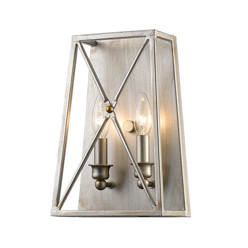 Tressle Antique Silver Two-Light Wall Sconce