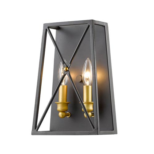 Tressle Bronze Gold Two-Light Wall Sconce