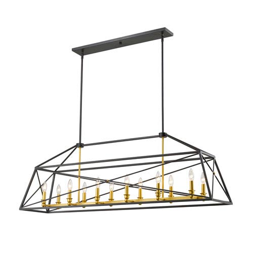 Tressle Bronze Gold Twelve-Light Island Pendant