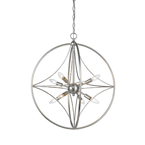 Z-Lite Cortez Brushed Nickel 24-Inch Eight-Light  Pendant