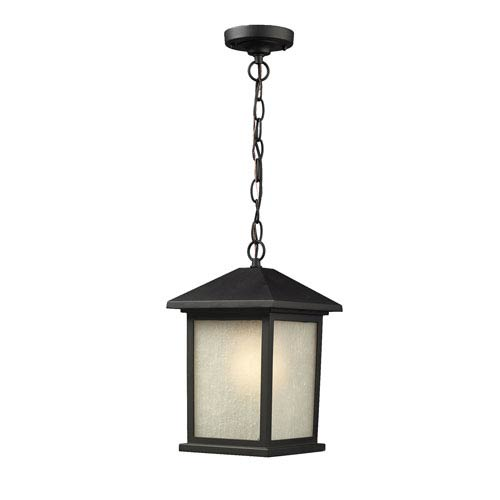 Holbrook Black One-Light Outdoor Pendant with White Seedy Glass