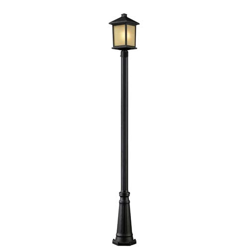 Z-Lite Holbrook One-Light Tall Oil Rubbed Bronze Outdoor Post Light with Tinted Seedy Glass Panels