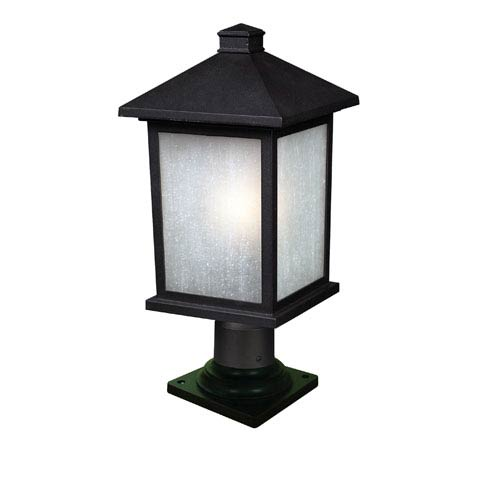 Z-Lite Holbrook One-Light Large Black Outdoor Pier Mount Light with White Seedy Glass Shade