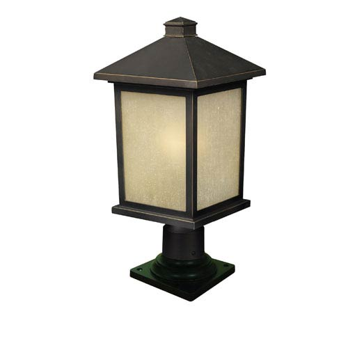 Z-Lite Holbrook One-Light Large Oil Rubbed Bronze Outdoor Pier Mount Light with Tinted Seedy Glass Shade