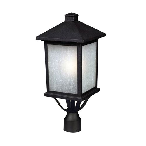 Z-Lite Holbrook Black One-Light Outdoor Post Mount with White Seedy Glass