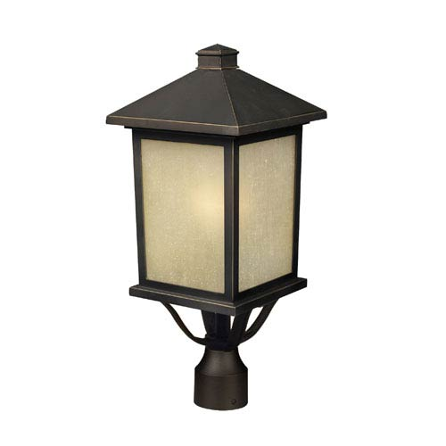 Holbrook Oil Rubbed Bronze One-Light Outdoor Post Mount with Beige Tinted Seedy Glass