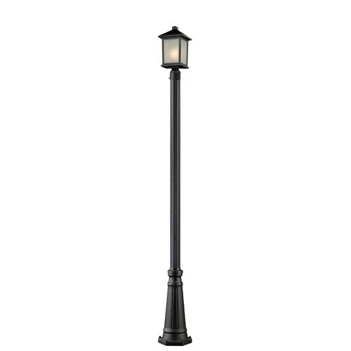 Z-Lite Holbrook One-Light Black Outdoor Post Light with White Seedy Glass Panels