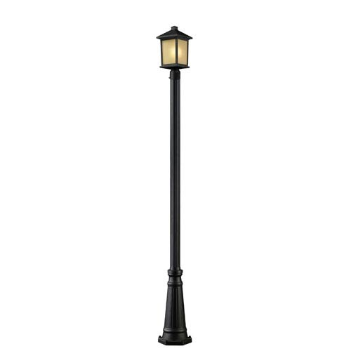 Z-Lite Holbrook One-Light Oil Rubbed Bronze Outdoor Post Light with Tinted Seedy Glass Panels