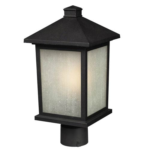 Z-Lite Holbrook Black 12-Inch Outdoor Post Light with White Seedy Glass