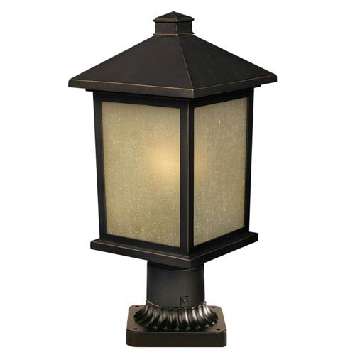 Z-Lite Holbrook Olde Rubbed Bronze 14-Inch Outdoor Post Light with Beige Seedy Glass
