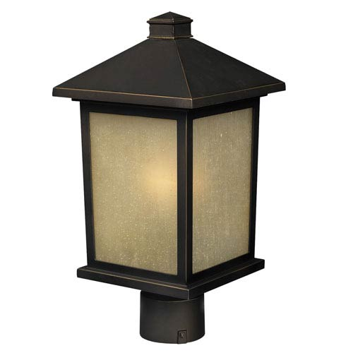 Z-Lite Holbrook Olde Rubbed Bronze 12-Inch Outdoor Post Light with Beige Seedy Glass