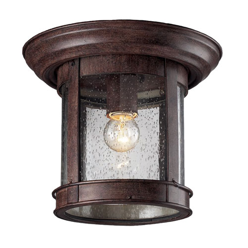 Z-Lite Weathered Bronze One-Light Outdoor Flush Mount with Clear Seedy Glass