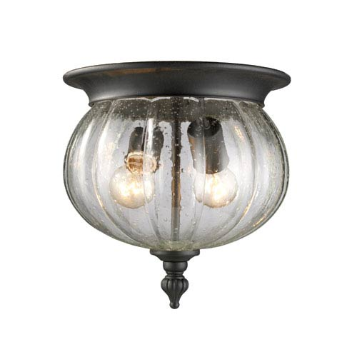 Z-Lite Belmont Black Two-Light Outdoor Flush Mount