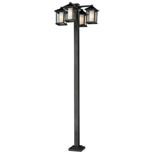 Z-Lite Mesa Four-Light Black Four-Head Outdoor Post Light