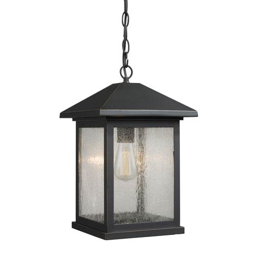 Portland Oil Rubbed Bronze 15-Inch One-Light Outdoor Hanging Light