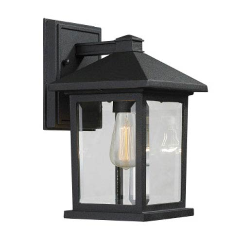 Z-Lite Portland Black 10-Inch One-Light Outdoor Wall Light