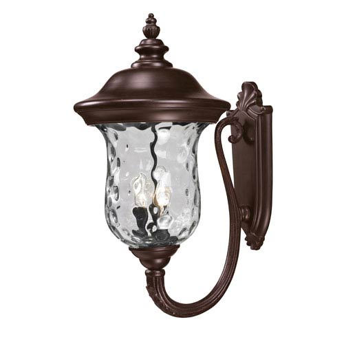 Z-Lite Armstrong Three-Light Rubbed Bronze Outdoor Large Upward Wall Lantern with Clear Waterglass