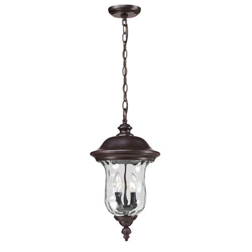 Z-Lite Armstrong Two-Light Rubbed Bronze Outdoor Chain Pendant Light