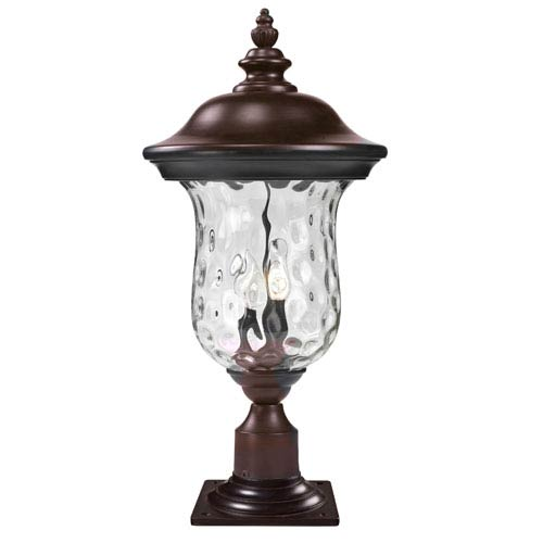 Z-Lite Armstrong Two-Light Rubbed Bronze Outdoor Pier Mount Light with Clear Waterglass