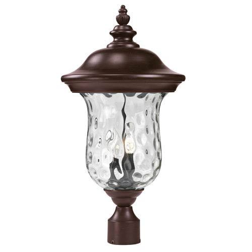 Z-Lite Armstrong Two-Light Rubbed Bronze Outdoor Post Mount Light with Clear Waterglass