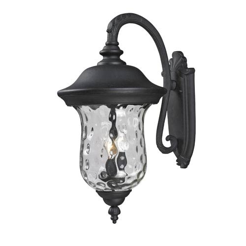 Z-Lite Armstrong Three-Light Black Outdoor Large Downward Wall Lantern with Clear Waterglass