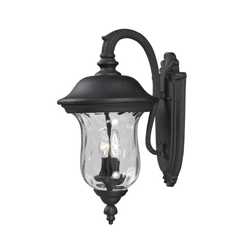 Z-Lite Armstrong Two-Light Black Outdoor Medium Wall Lantern with Clear Waterglass