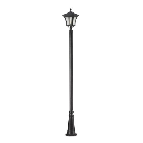Z-Lite Waterdown One-Light Sand Black Outdoor Post Light with Clear Seedy Glass