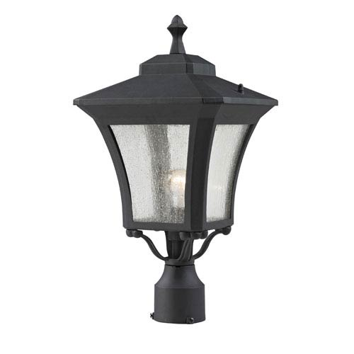 Z-Lite Waterdown One-Light Sand Black Outdoor Post Mount Light with Clear Seedy Glass