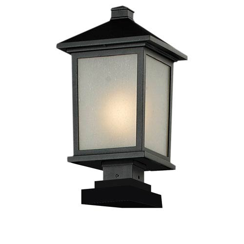 Z-Lite Holbrook One-Light Large Black Outdoor Pier Light with White Seedy Glass Panels