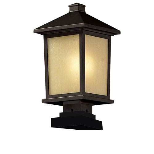 Z-Lite Holbrook One-Light Large Oil Rubbed Bronze Outdoor Pier Light with Tinted Seedy Glass Panels