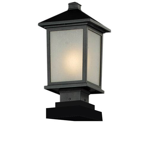 Z-Lite Holbrook One-Light Black Outdoor Pier Light with White Seedy Glass Panels