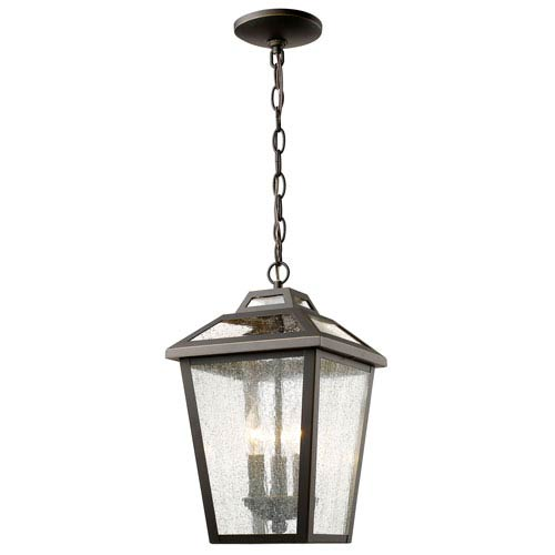 Bayland Oil Rubbed Bronze Three-Light Nine-Inch Outdoor Pendant