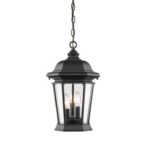 Z-Lite Melbourne Black Three-Light Outdoor Pendant