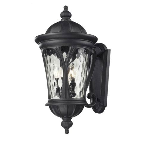 Z-Lite Doma Five-Light Black Outdoor Wall Mount with Clear Waterglass