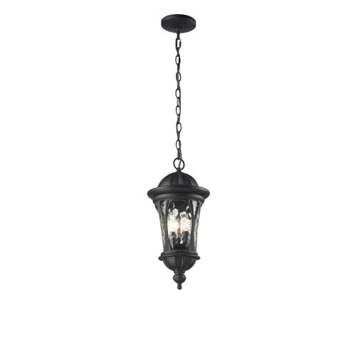Z-Lite Doma Three-Light Black Outdoor Chain Pendant Light with Clear Waterglass