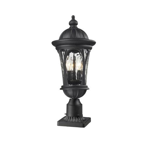 Z-Lite Doma Three-Light Black Outdoor Pier Mount with Clear Waterglass