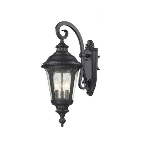 Z-Lite Medow Three-Light Black Outdoor Wall Mount with Clear Seedy Glass
