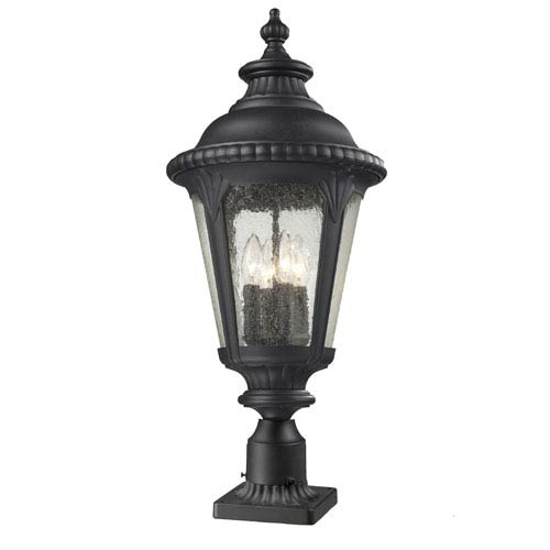 Pier mount outdoor post lighting free shipping bellacor medow four light black outdoor pier mount with clear seedy glass aloadofball Images