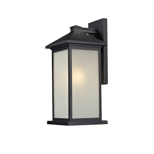 Z-Lite Vienna One-Light Large Black Outdoor Wall Mount with White Seedy Glass Panels